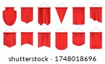 realistic textile pennants.... | Shutterstock .eps vector #1748018696