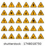 warning signs. caution... | Shutterstock .eps vector #1748018750