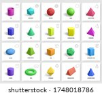 realistic 3d geometric shapes.... | Shutterstock .eps vector #1748018786