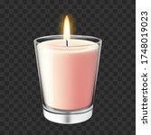 realistic glass candlestick.... | Shutterstock .eps vector #1748019023