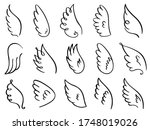 doodle wings. hand drawn angel... | Shutterstock .eps vector #1748019026