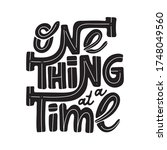 one thing at a time   hand... | Shutterstock .eps vector #1748049560