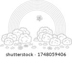 rainbow and a cheerful...   Shutterstock .eps vector #1748059406