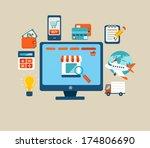 set of flat design concept... | Shutterstock .eps vector #174806690