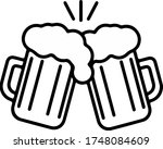beer glasses mug cups with... | Shutterstock .eps vector #1748084609