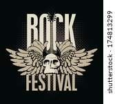 poster for a rock festival with ... | Shutterstock .eps vector #174813299