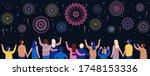 crowd watching fireworks. happy ... | Shutterstock .eps vector #1748153336