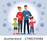 family wearing coronavirus... | Shutterstock .eps vector #1748153486