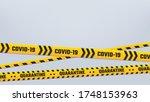 covid 19 quarantine stripes... | Shutterstock .eps vector #1748153963