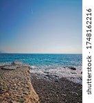 Scenic sea landscape, Adriatic sea coast Montenegro, blue sky and sea in sunny day, Lovely sea background - stock photo