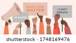 black lives matter  crowd of... | Shutterstock .eps vector #1748169476