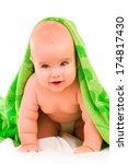 happy little baby in green...   Shutterstock . vector #174817430