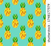 stylized pineapples on mint... | Shutterstock .eps vector #1748177579