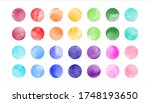 watercolor circle shape stains  ... | Shutterstock .eps vector #1748193650