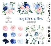 classic navy blue  white  blush ... | Shutterstock .eps vector #1748235986