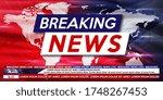 breaking news live on world map ... | Shutterstock .eps vector #1748267453