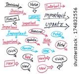 set of handwritten notes.... | Shutterstock .eps vector #174832556