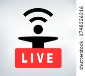 live streaming red button. man... | Shutterstock .eps vector #1748326316