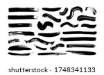 black paint wavy and straight... | Shutterstock .eps vector #1748341133