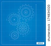 blueprint of cogs | Shutterstock .eps vector #174834320
