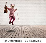 Little Girl With Violin Jumpin...