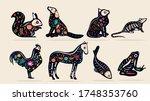set of eight pet dia de muertos ... | Shutterstock .eps vector #1748353760