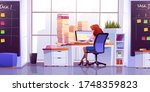 woman working at office sitting ... | Shutterstock .eps vector #1748359823