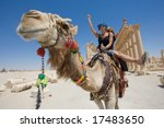 Two Girls Are Ride On Camel In...