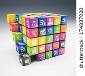 3d image of abstract cubes and... | Shutterstock . vector #174837020