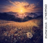 vintage picture. sunrise in the ... | Shutterstock . vector #174839060