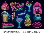 set of fashion neon sign. night ... | Shutterstock .eps vector #1748425079