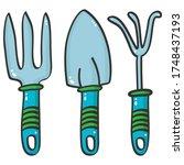 gardening tools  cultivator ... | Shutterstock .eps vector #1748437193