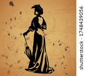 Silhouette Of The Woman With...