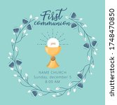 first holy communion invitation ... | Shutterstock .eps vector #1748470850