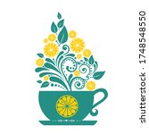 tea cup. restaurant menu design.... | Shutterstock . vector #1748548550