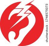 ear icon and symbol logo vector ... | Shutterstock .eps vector #1748575073