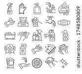 sanitation icons set. outline...   Shutterstock .eps vector #1748580809