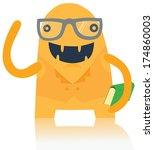 cute nerdy monster with a book   Shutterstock . vector #174860003