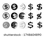 set of dollar icon. money...   Shutterstock .eps vector #1748604890
