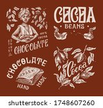 cocoa beans and chocolate.... | Shutterstock .eps vector #1748607260
