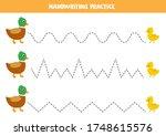 handwriting practice with cute... | Shutterstock .eps vector #1748615576