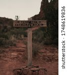 Small photo of A vertical shot of a sign showing the place of Templeton Cathedral Rock
