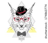 hand drawn portrait of hipster... | Shutterstock .eps vector #174863774