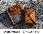 Two Handmade Wallets Of Brown...
