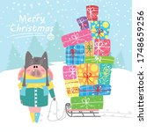 a pig in warm clothes carries a ... | Shutterstock . vector #1748659256