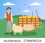 young farmer in hat stands with ... | Shutterstock .eps vector #1748696216