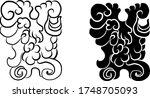 japanese flower for coloring... | Shutterstock .eps vector #1748705093