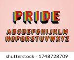 rainbow layer typography design ... | Shutterstock .eps vector #1748728709