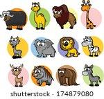 set of cute cartoon animals  | Shutterstock .eps vector #174879080