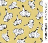 seamless pattern of garlic on...   Shutterstock .eps vector #1748799410